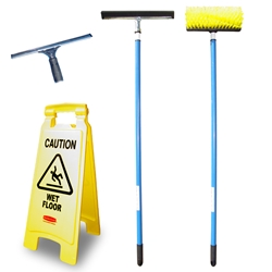 Accessory Cleaning Kit (floor brush, window squeegee, floor squeegee, 2 extended handles, microfiber cloths, microfiber mitt & caution sign) Cleaning supplies accessory kit,Animal care/veterinary facility cleaning accessory kit